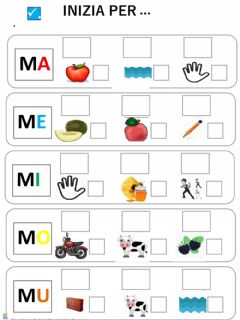 Interactive worksheet Ma me mi mo mu
