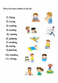 Interactive worksheet Verbs with ing
