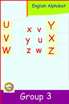 Interactive worksheet English Alphabet - Group 3 - U - Z