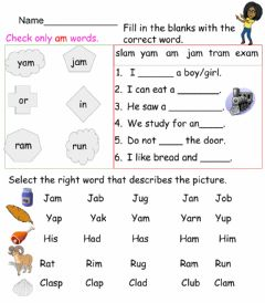 Interactive worksheet AM word family