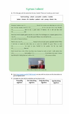 Interactive worksheet A person I admire