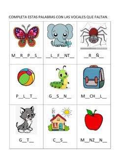 Interactive worksheet Completar con vocales
