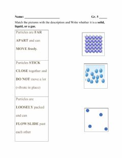 Interactive worksheet Particles of Matter