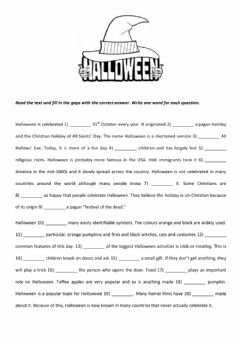 Interactive worksheet HALLOWEEN - Open Cloze