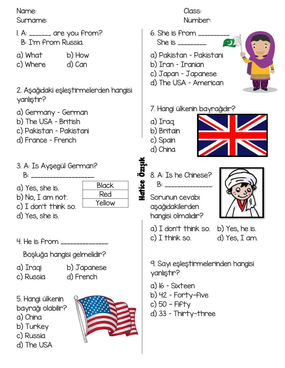 200.20. Countries and Nationalities Quiz for 200th Grades worksheet