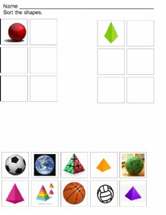 Interactive worksheet Sphere and Pyramid Sort