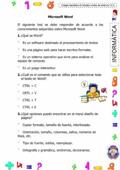 Interactive worksheet Microsoft Word
