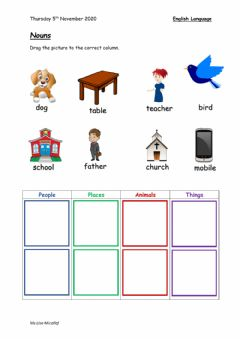 Ficha interactiva Classifying Nouns