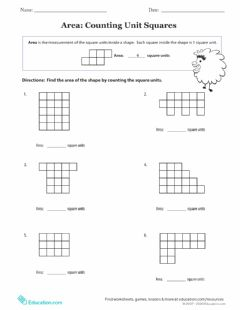 Interactive worksheet Unit square area