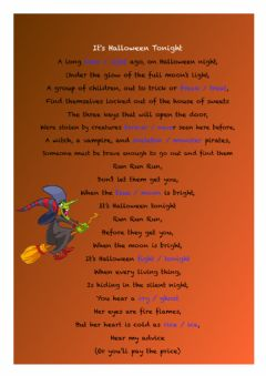 Interactive worksheet It's Halloween tonight song