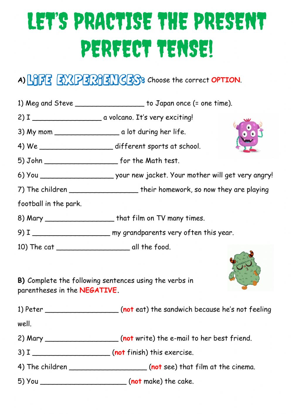 LET'S PRACTISE THE PRESENT PERFECT TENSE worksheet