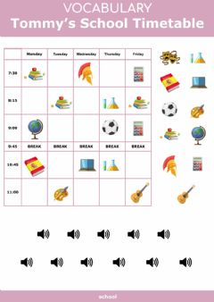 Interactive worksheet Tommy's School Timetable