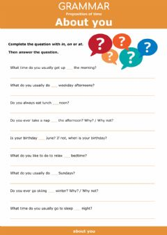 Interactive worksheet Preposition of time - Questions about you