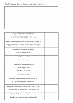 Interactive worksheet Used to - song compilation
