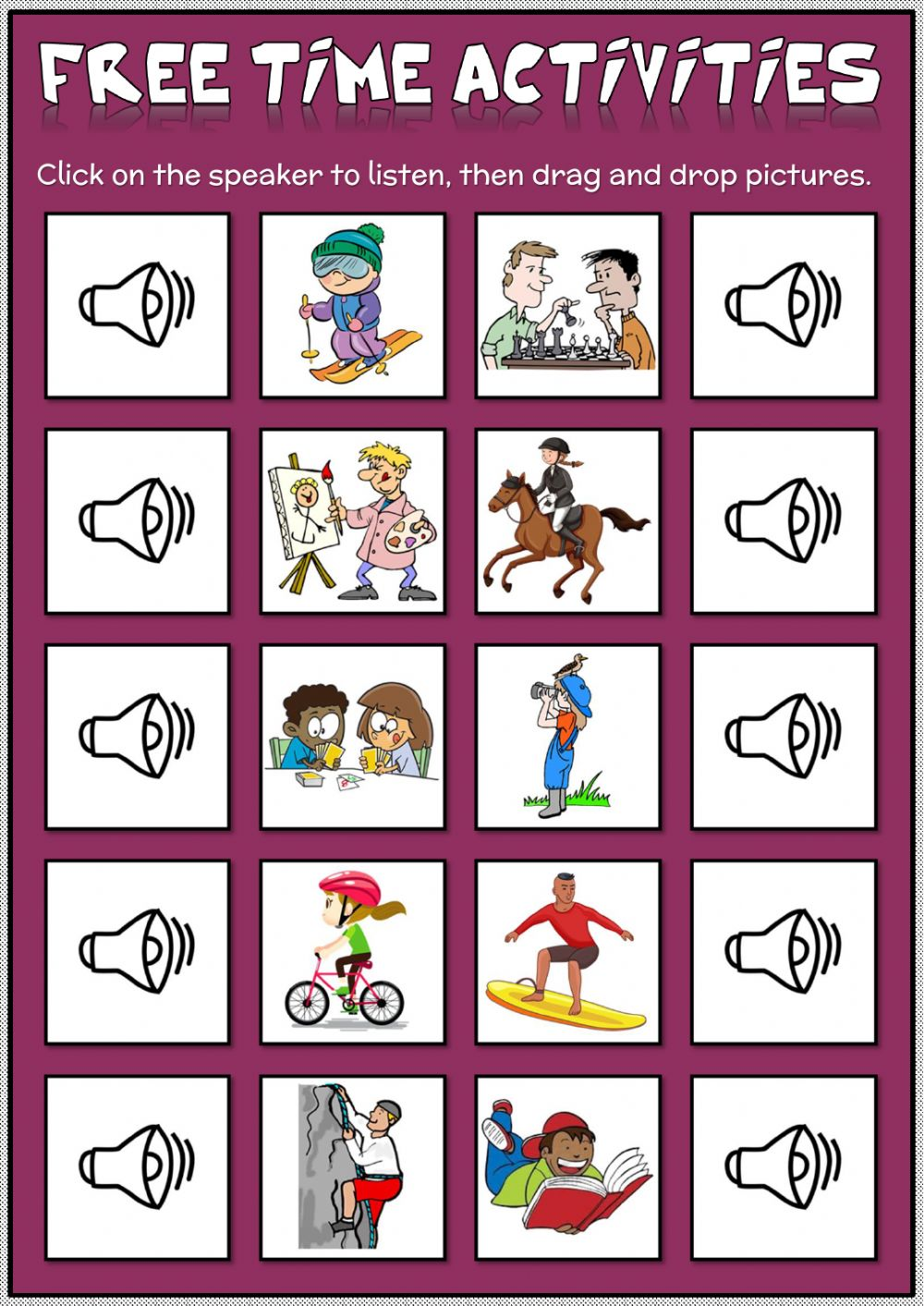 Free time activities - drag and drop worksheet