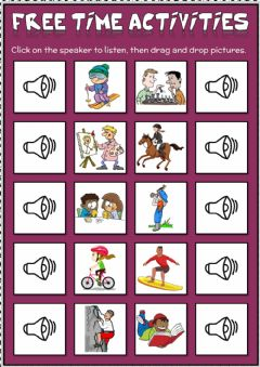 Interactive worksheet Free time activities - drag and drop