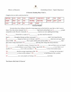 Interactive worksheet Extreame Weather