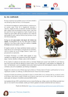 Interactive worksheet Comprensión lectora: El Cid