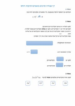 Interactive worksheet חזקות ויחס