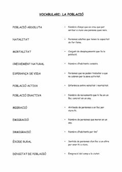Interactive worksheet La població - Vocabulari