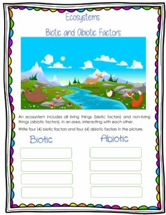 Interactive worksheet Biotic and Abiotic Factors