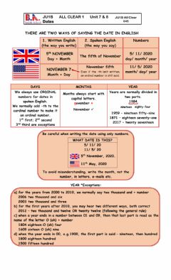 Interactive worksheet JU1B UNITS 7 - 8 HOW TO SAY THE DATE IN ENGLISH