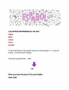 Interactive worksheet Los verbos regulares -ar