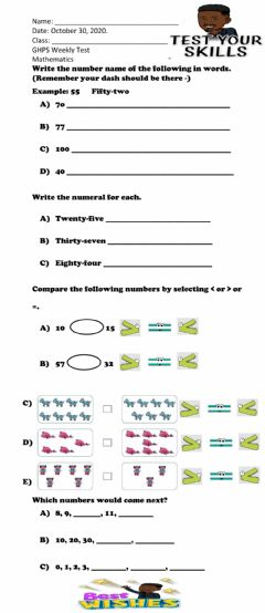 Interactive worksheet Number Name and Comparing Number Test