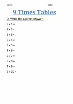 Interactive worksheet Table of nine