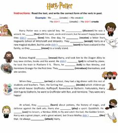 Interactive worksheet Harry Potter Story
