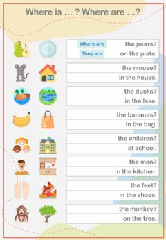 Interactive worksheet Where is ... ? Where are ... ?