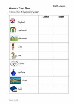 Ficha interactiva Common and Proper Nouns