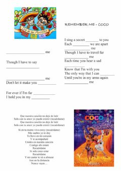 Interactive worksheet Remember me - song activity