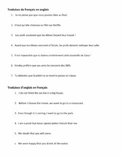 Interactive worksheet Subjonctif - traduction anglais  français vice versa