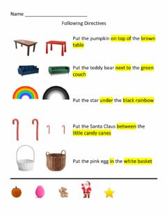 Interactive worksheet FOLLOWING DIRECTIONS with ADJECTIVES