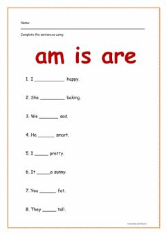 Interactive worksheet Am is or are