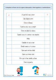 Interactive worksheet Oraciones interrogativas y exclamativas