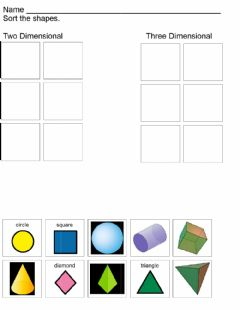 Ficha interactiva Two and Three Dimensional Shapes Sort