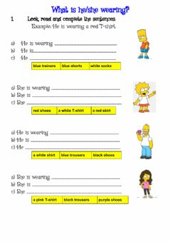 Interactive worksheet What is he-she wearing?