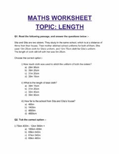 Interactive worksheet Length worksheet