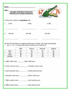 Interactive worksheet Ordering and Comparing Numbers