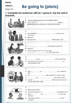 Interactive worksheet Future Be going to