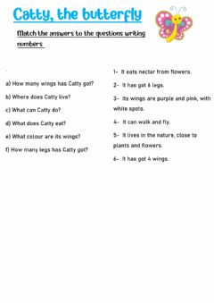 Interactive worksheet Catty, the butterfly