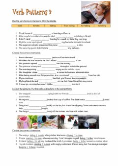 Interactive worksheet Verb Patterns 2