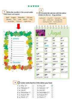 Interactive worksheet Dates and ordinal numbers