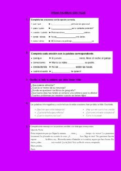 Interactive worksheet Tilde en exclamativos e interrogativos