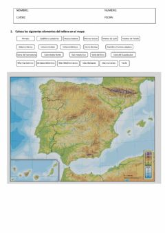 Interactive worksheet Paisaje y relieve de España