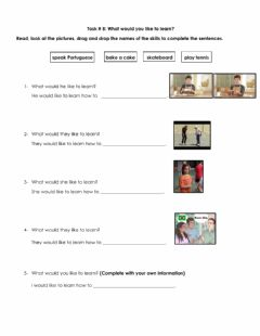 Interactive worksheet What would you like to learn?