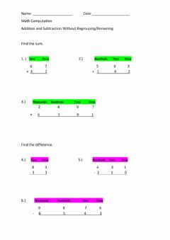 Interactive worksheet Addition and Subtraction Without Regrouping