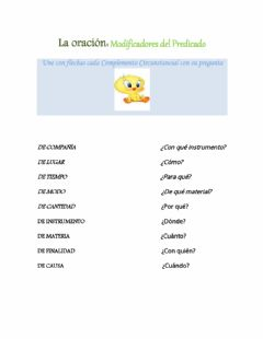 Interactive worksheet Modificadores del Predicado